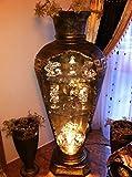 Bar Vitrine Amphore Vase Vasen mit Licht Regal Glasregal Bodenvase 6851 mäander