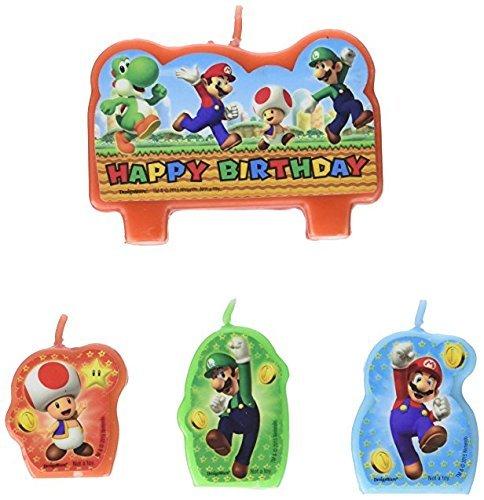 (Amscan Super Mario Brothers Geburtstag Party Geformt Kerze Kuchen Set Dekoration, Wachs)