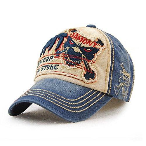 Baseball Cap aus gewaschener Denim Vintage Fight Skull Distressed verstellbar Kappe für Damen und Herren (Baumwoll-baseball-caps)