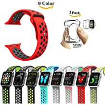 Chok Idea Apple reloj correa de reloj, [con carcasa transparente caso], Nike + estilo suave silicona Sport correa de repuesto para Apple Watch Series 1/2,38mm/42mm, 9colores, color Red-Black