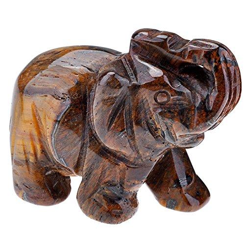 ie Kristall Edelstein Hand geschnitzt Elefant Figur Statue Ornament mit Geschenk-Box, 3,8cm, Tiger Eye's Stone ()