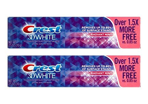 2x CREST 3D White Radiant Mint für strahlende Zähne Zahnpasta mit Fluoride 70g USA -