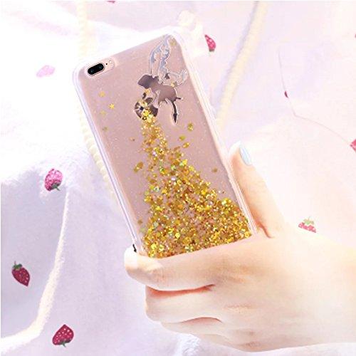 Vandot 2 en 1 Etui pour iPhone 8 Plus Souple TPU Silicone Housse Clair Transparente Coque pour iPhone 8 Plus / iPhone 7 Plus Ultra Mince Ultra Léger Cover Absorption de Choc Antidérapant Anti-rayures  Fée - Or