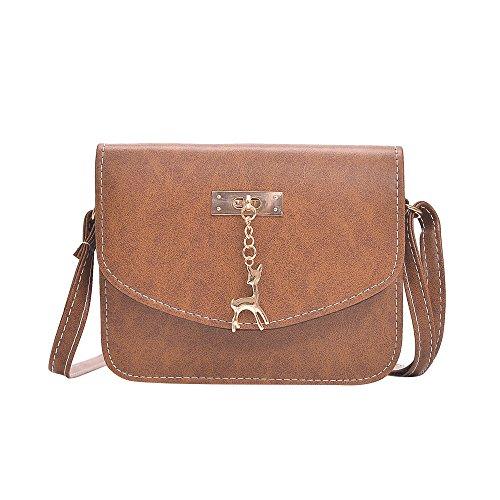 Damen Leder Umhängetasche Reh Anhänger Reißverschluss Citytasche Schultertasche Casual Crossbody Messenger Tasche (B Typ Braun)