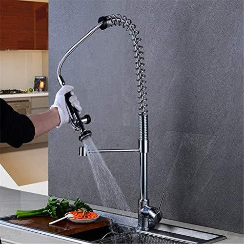 WYH Küchenarmatur Modernes Chrom Pull-Out/Pull-down Centerset Waschbecken Dreh Pull-Typ Wasserhahn großen Frühling Wasserhahn -