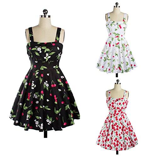 Adolpha Damen Kleid Druck Mode Mode Mosaik Polyester Frühling Sommer (weiß, rot, schwarz) White