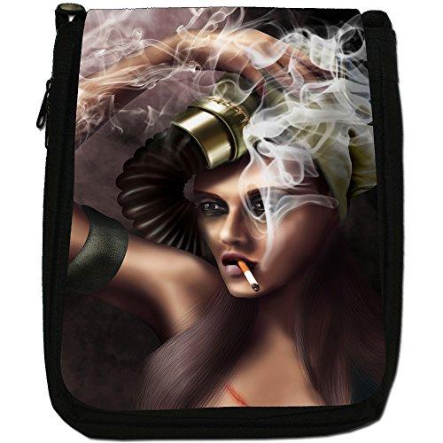 Bella Donna, modello Smoking-Borsa a tracolla in tela, colore: nero, taglia: M Sultry Woman Wearing Gas Mask