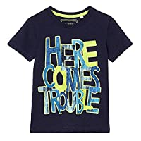Bluezoo Kids Boys' Navy 'Here Comes Trouble' Slogan Print T-Shirt Age 3-4