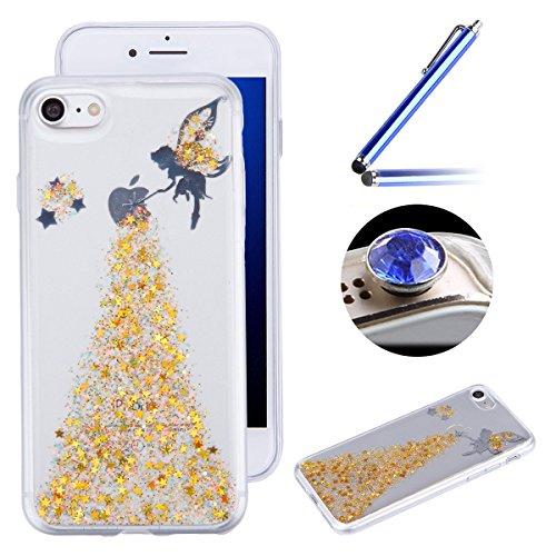 iPhone 6 Plus Coque en Siliocone iPhone 6S Plus Housse Diamant Mode Luxe Miroir Bling Glitter iPhone 6 Plus Silicone Coque Crystal Scintiller Coque Bague iPhone 6S Plus Case Coque Rose Romantique Élég Elfe Jaune