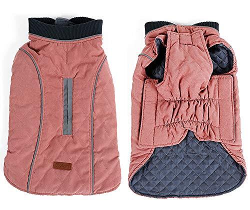 PENIVO 6 Farben Haustier Jacke Hundebekleidung Wasserabweisend Winter Warme Kleidung Weste Reversible Winterjacken Mäntel für Kleine Mittelgroße Hund (L, Rosa)
