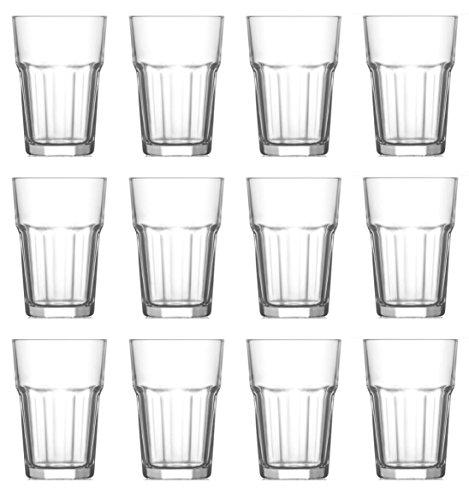 Trinkglas Cocktailglas Caipirinha Glas Transparent oder Farbig sortiert 300 ml , Stückzahl:12 Stück, Farbe:Transparent