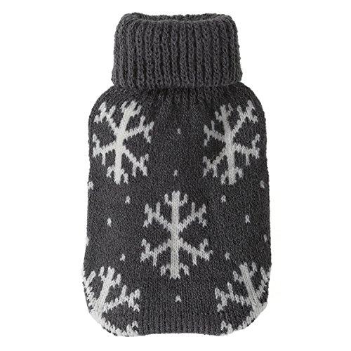 Taschenwärmer + Strickbezug - Flocken - Wärmflasche Handwärmer Wärmepad Firebag, Farbe:Grau