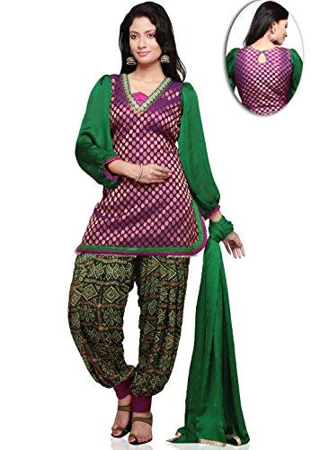 Utsav Fashion Chanderi Brocade Punjabi Suit in Purple and Green Colour