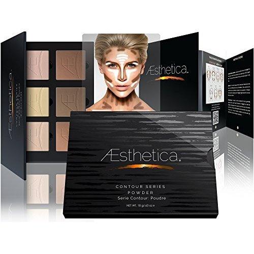 Aesthetica Cosmetics Kontur- und Highlight-Puder-Foundation-Palette/Konturen-Make-up-Set, einfache Schritt-für-Schritt-Anleitung (in englischer Sprache) -