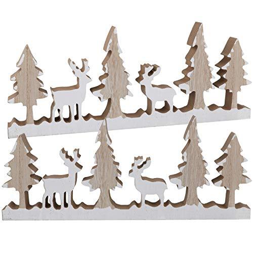 com-four® 2X Décoration de Noël avec des Rennes et des Arbres en Bois véritable Blanc et Naturel, 29 x 12 x 2,1 cm
