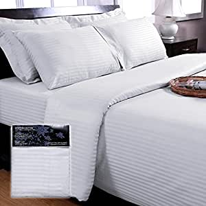 Homescapes 330 Thread Count ( Non Twisted Yarn ) Ultrasoft White ( With Satin Stripe ) Fitted Sheet Super King Size 100% Egyptian Cotton Percale Anti Dust Mite
