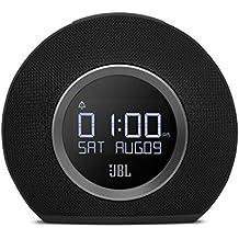 JBL Horizon - Radio despertador de doble alarma inalámbrico compatible con smartphones y tablets iOS/Android y dispositivos MP3 (Bluetooth, puerto de carga USB, luz LED ambiental despertar de amanecer), color negro
