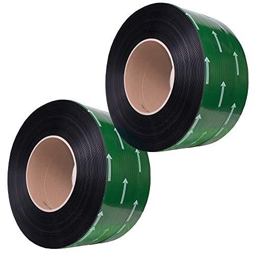 LINDER PREMIUM PP-Umreifungsband (Schwarz) in Automatenqualität - 12 x 0,55 mm, 200 mm Kern-ID - Geprägt, 3000 m Lauflänge und einer durchschnittlichen Reißkraft von 133kg (2 Rollen/Karton)