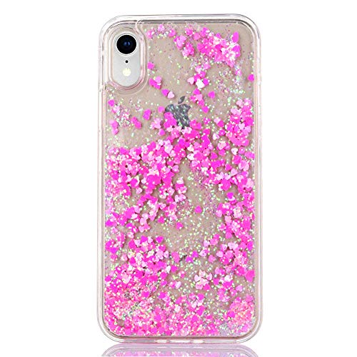"""iPhone XR Case Glitter [Free Tempered Glass Screen Protector],Mo-Somnus Fashion Flowing Liquid Floating Bling Shiny Sparkle Glitter Cover Cases for Apple iPhone XR 6.1"""" (Rose Red)"""