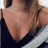 Jovono Gargantilla de lentejuelas multicapa, collar de plata con cadena en forma de Y, joyería para mujeres y niñas