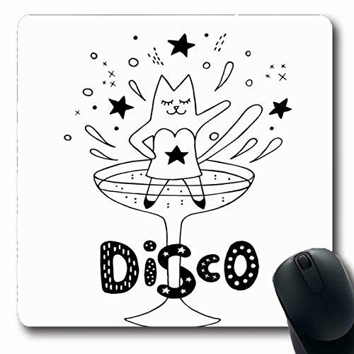 Luancrop Mousepads Hand beschwipste Katzen-Party-Girl-Tanzen-Disco im Retro Cocktail-Glas, das Spaß hat Abstrakte Schwarze weiße rutschfeste Spiel-Mausunterlage Gummi-längliche Matte (Party-girl Hats)