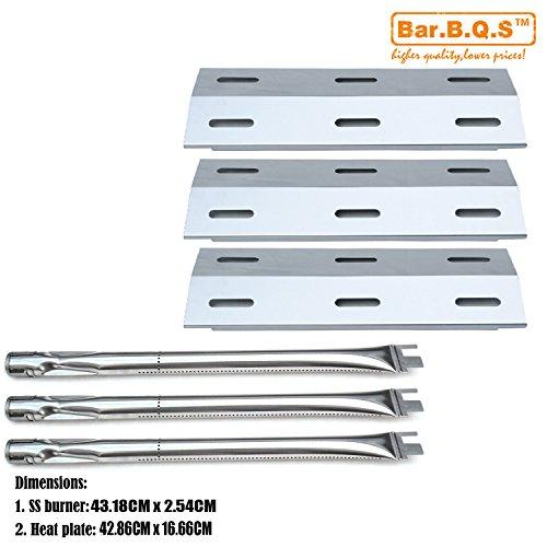 Bar.b.q.s Gas Grill Barbecue Reparts KIT Ersatz für Ducane 30400040, 3200,3400 Grill Modelle 3 Stück Edelstahl-Brenner & 3 Stück Edelstahl-Heizplatten -