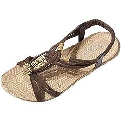 Sandalias de mujer Verano Moda Bohemia Dulce Con cuentas Plano Casual Sandalias con punta de clip Zapatos de playa LMMVP (39(CN), Marrón)