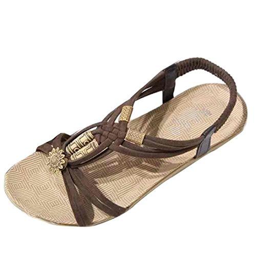 Sandalias de mujer Verano Moda Bohemia Dulce Con cuentas Plano Casual Sandalias con punta de clip Zapatos de playa LMMVP (37(CN), Marrón)