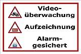 Video-Überwachung Schild - Videoüberwachung - Aufzeichnung - Alarmgesichert – 30x20cm mit Bohrlöchern   stabile 3mm starke Aluminiumverbundplatte – S00348-010-B – Kamera-Überwachung +++ in 20 Varianten erhältlich