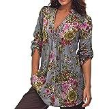 ❤️• •❤️Blusen Shirt Tops Luckycat 2018 Neu Heißer Verkauf Mode Damen Shirts Blusen Tops Frauen Vintage Blumendruck V Ausschnitt Tunika Tops Plus Size Shirts Blusen Tops (Kaffee, XXL)