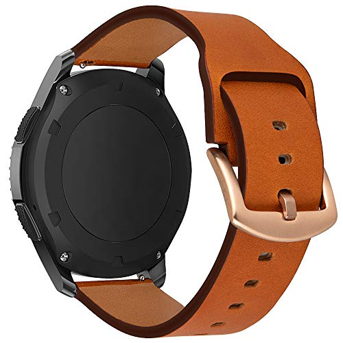 iBazal 22mm Armband Leder Uhrenarmband Armbänder Ersatz für Samsung Galaxy Watch 46mm SM-R805/800, Gear S3 Frontier/Classic SM-R760/770,Huawei GT/2 Classic/Honor Magic,Ticwatch Pro Herren - Braun (Leder Uhrenarmbänder Für Männer)