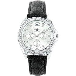 Zeigt Damen Fantasie Leder schwarz Diamanten CZ Michael John 1376