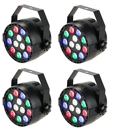 Lixada 15W DMX-512 RGBW LED DJ Lichteffekt Disco Beleuchtung 8 Kanal Wechselstrom 100-240V (4pcs)