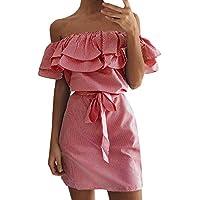 Vestidos Mujer Verano Elegante,Rayas Fuera del Hombro Fallar Mini Vestir Corta Manga Moda Sexy Casual para Vacación Cóctel Playa Evening Prom Fiesta Ceremonia de la Boda