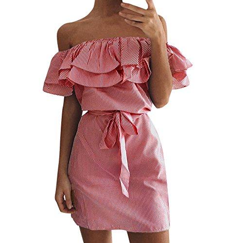 Sasstaids Heißer Kleiden,Plus <br><br>❤<b>Größe Womens Holiday Off <br>Schulter Bardot Mini Dress Ladies Dress with Belt
