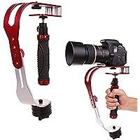 AFUNTA Pro Handheld video della telecamera stabilizzatore costante, ideale per GoPro, Cannon, Nikon o qualsiasi fotocamera DSLR fino a 0.95 KG Con Smooth Pro Glide fisso Cam - Rosso + argento + nero