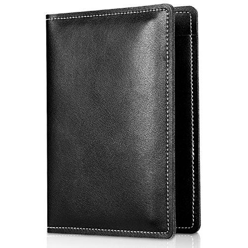 Passport Folio (Echtes Leder Passport Abdeckung Halter, ProCase Premium Quality Passport Case Reisetasche für Pass, Karten und Bargeld -Schwarz)