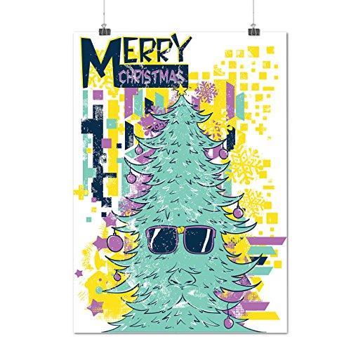 Fröhlich Hipster Weihnachten Weihnachten Baum Mattes/Glänzende Plakat A4 (30cm x 21cm) | (Kostüme Halloween Ideen Hipster)