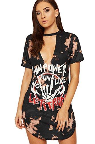 wearall-damen-halsband-sturzen-t-shirt-kleid-top-damen-tie-farbstoff-grafik-slogan-druck-neu-schwarz