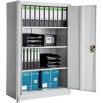 TecTake Office storage cupboard metal grey | 3 shelves 2-door and ...
