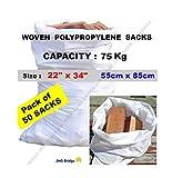 50X * * Nouveau * * double couture en polypropylène tissé * Heavy Duty * Sacs gravats Builder Sacs de sable Blanc. Dimensions: 55cm x 85cm/55,9x 86,4cm. Capacité: 75kg Environ (lot de 50sacs)