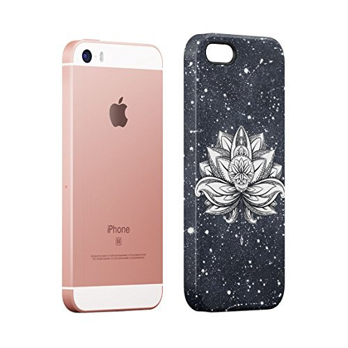 Henna Turquoise Lotus Blossom Yin Yang Dünne Rückschale aus Hartplastik für iPhone 5 & iPhone 5s & iPhone SE Handy Hülle Schutzhülle Slim Fit Case cover White Lotus Tattoo