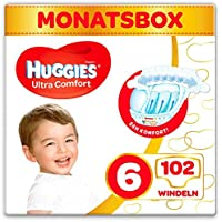 Huggies Windeln Ultra Comfort Baby Größe 6 Monatsbox, 1er Pack (1 x 102 Stücke)