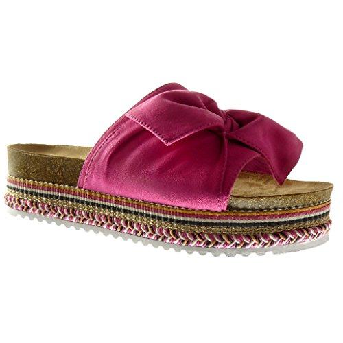 Angkorly - Scarpe da Moda sandali zeppe slip-on donna papillon intrecciato Tacco zeppa piattaforma 5 CM - Fushia 888-111 T 37