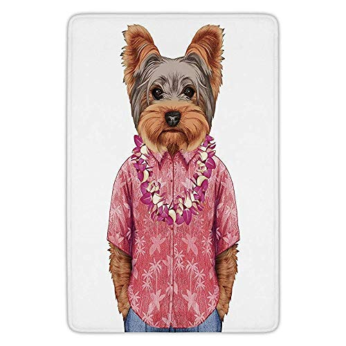Bathroom Bath Rug Kitchen Floor Mat Carpet,Yorkie,Portrait of a Dog in Humanoid Form with a Pink Shirt with Hawaian Lei Fun Image Decorative,Multicolor,Flannel Microfiber Non-slip Soft Absorbent -