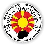 Tiukiu - Adesivo Rotondo con Bandiera della Macedonia del Nord per Laptop, Libri, Frigorifero, Chitarra, Casco, Cassetta degli Attrezzi, Porta PC, Barca