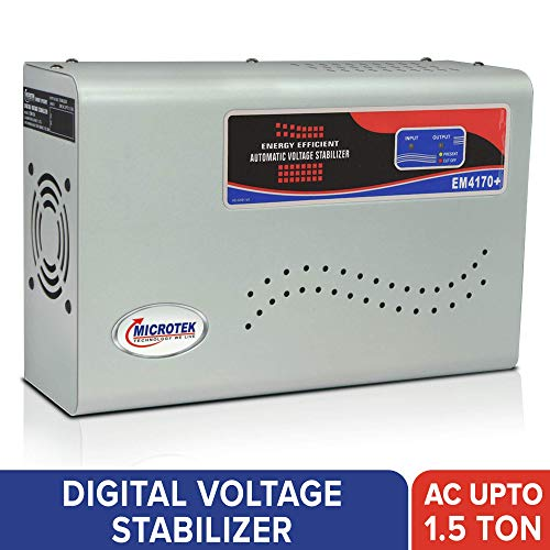 Microtek EM4170+ Automatic Voltage Stabilizer for AC up to 1.5 ton (170V-270V), Metallic Grey - LED Display, Wall Mounted