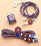 6-in-1 Cable Protectors, Earphones Winder, Sticker, Clips, Earphone Jack Clip (Blue)