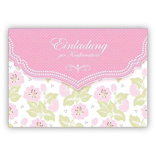 Im 5er Set: Schöne Einladungskarte mit zartem Blüten Muster in ros für Mädchen: Einladung zur Konfirmation