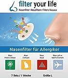 FILTER YOUR LIFE Nasen Filter gegen Allergie Large, Heuschnupfen, Hausstaub Allergie, Hundehaar Allergie, Katzenhaarallergie, Tierhaar Allergie, passiv Rauchen, Luftverschmutzung, reduziert die Ansteckungsgefahr durch Viren … (Large, 1 Woche (14 Filter))